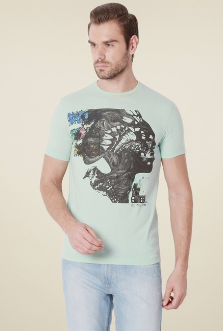 Peter England Pistachio Regular Fit Printed T-Shirt