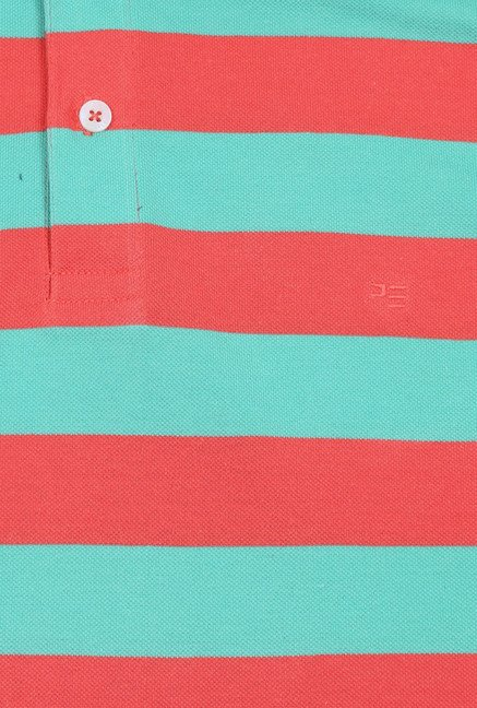 Peter England Turquoise & Red Striped Polo T-Shirt