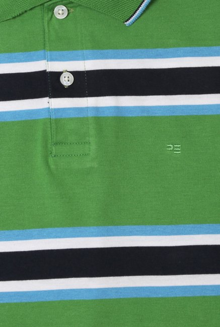 Peter England Green & Navy Striped Regular Fit Polo T-Shirt