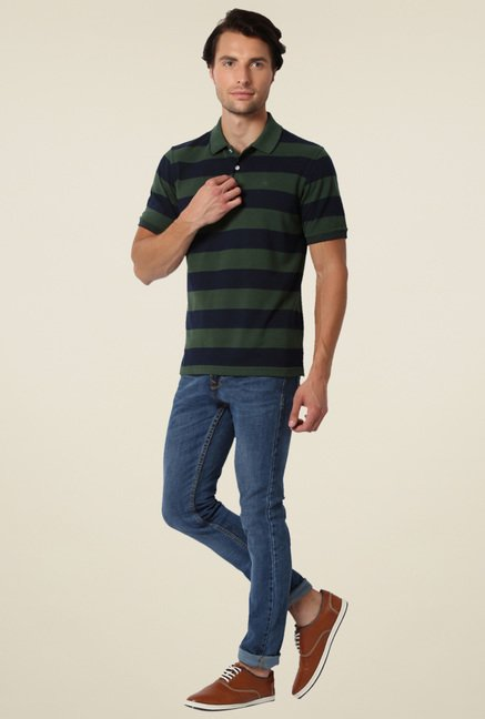 Peter England Olive & Navy Striped Regular Fit Polo T-Shirt