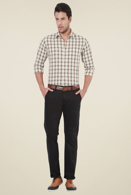 Peter England Cream Checks Slim Fit Shirt