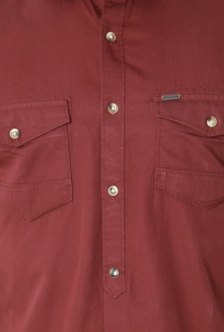Peter England Brick Red Half Sleeves Cotton Shirt