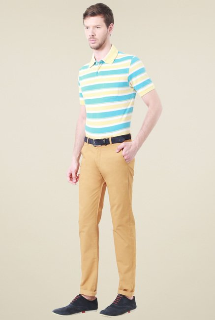Peter England Yellow & Blue Regular Fit Striped Polo T-Shirt