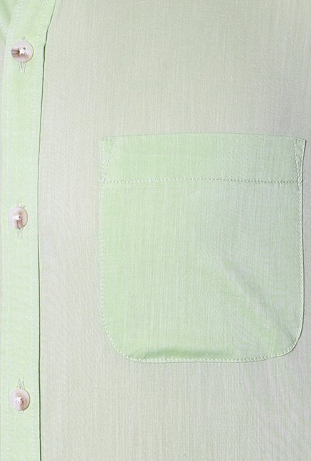 Peter England Lime Green Cotton Slim Fit Shirt