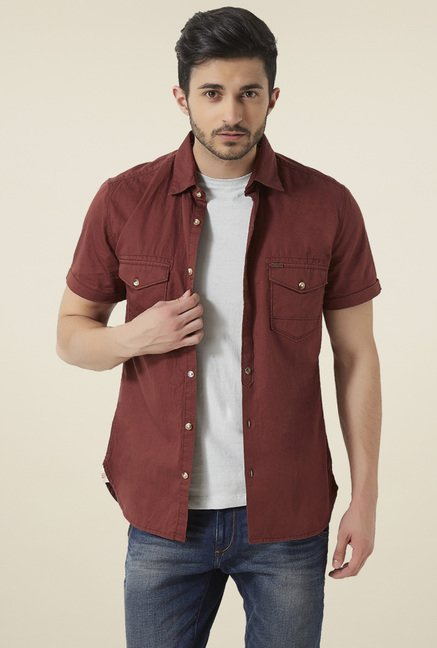 Peter England Brown Half Sleeves Slim Fit Shirt