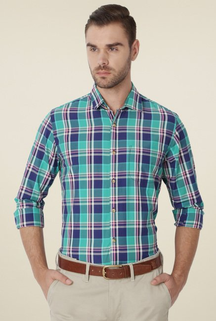Peter England Turquoise Checks Shirt