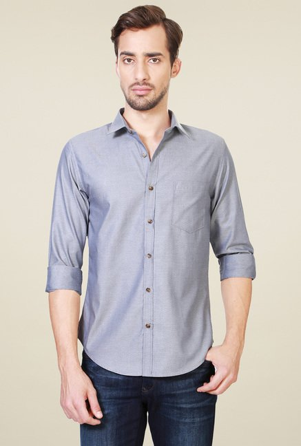 Peter England Grey Solid Slim Fit Shirt