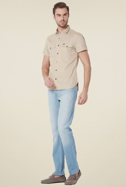 Peter England Beige Half Sleeves Ultra Slim Fit Shirt