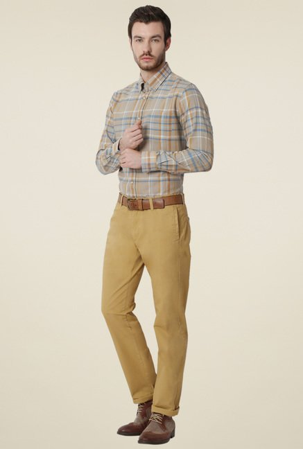 Peter England Beige Slim Fit Cotton Shirt