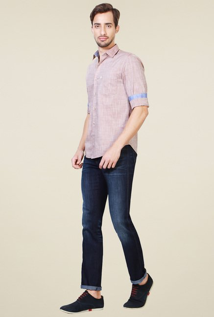 Peter England Mauve Full Sleeves Slim Fit Cotton Shirt