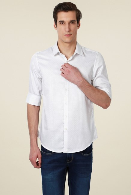 Peter England White Printed Slim Fit Cotton Shirt