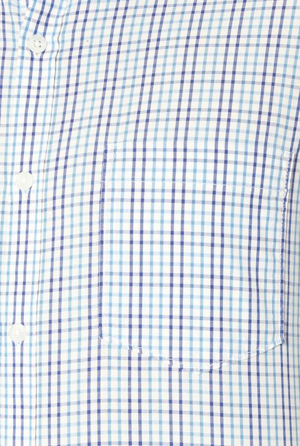 Peter England Blue Cotton Slim Fit Checks Shirt
