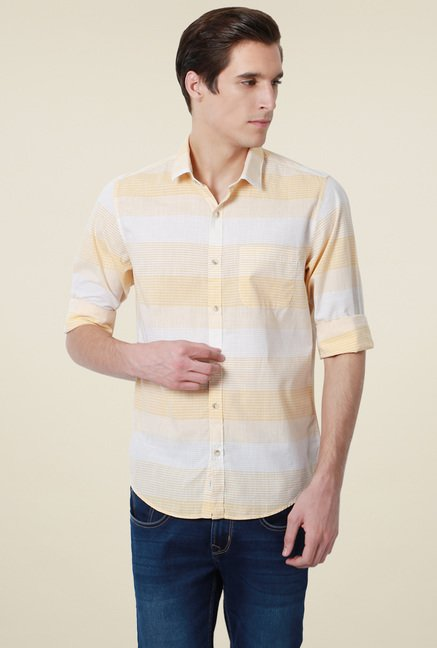 Peter England Yellow Full Sleeves Slim Fit Cotton Shirt