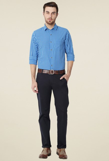 Peter England Blue Slim Fit Checks Cotton Shirt
