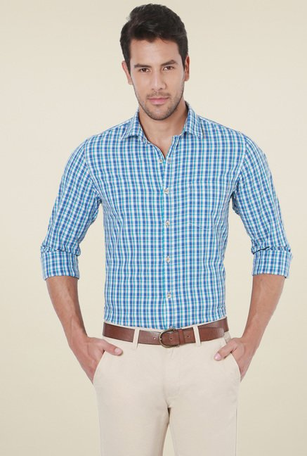 Peter England Blue Full Sleeves Slim Fit Shirt