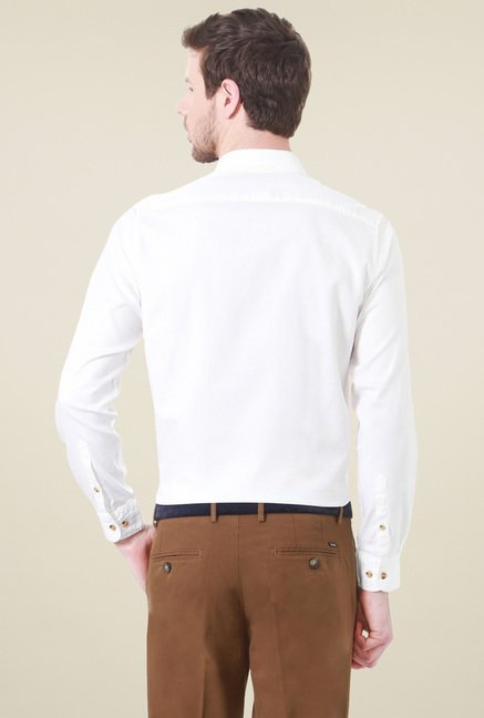 Peter England White Full Sleeves Solid Shirt