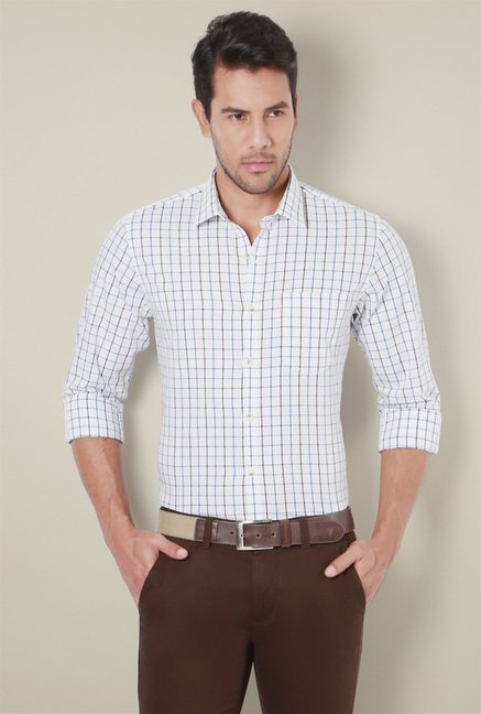 Peter England White Cotton Full Sleeves Checks Shirt