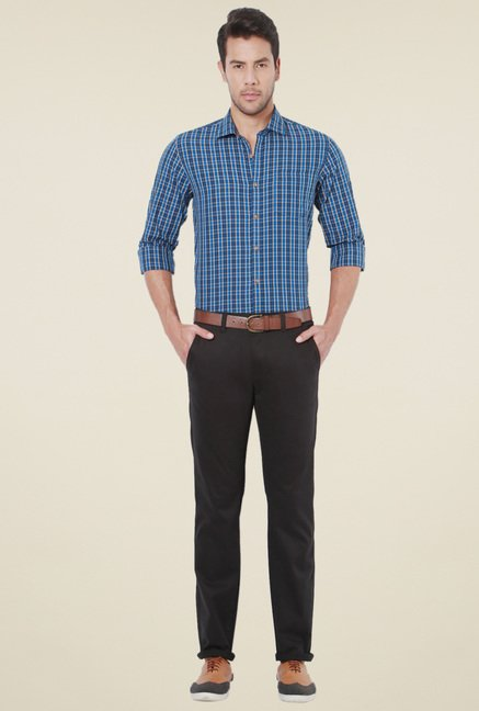 Peter England Dark Blue Slim Fit Checks Shirt