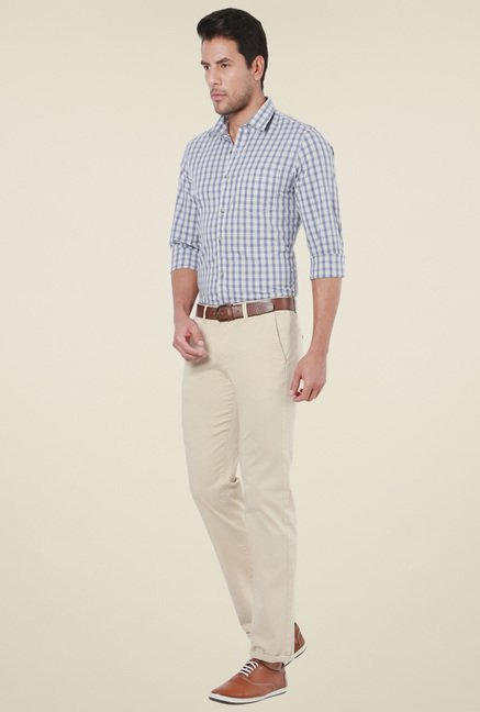 Peter England Blue & Off-White Slim Fit Shirt