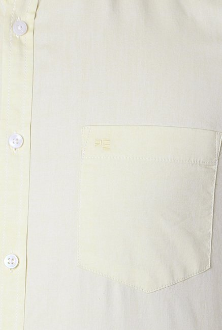 Peter England Yellow Solid Shirt