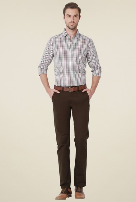 Peter England White Cotton Slim Fit Checks Shirt