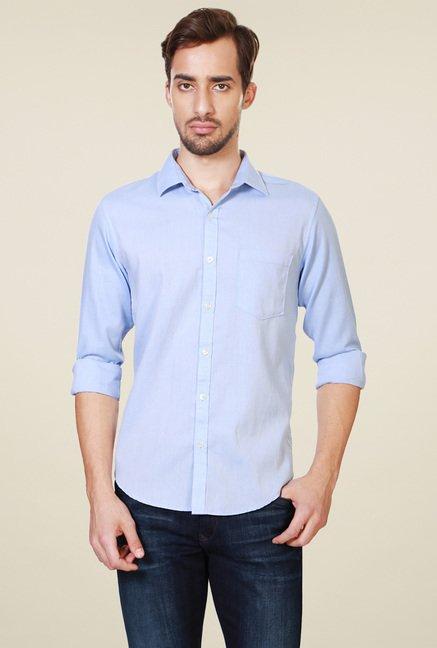 b1d49e96ce7a Buy Peter England Light Blue Full Sleeves Cotton Solid Shirt for Men Online    Tata CLiQ