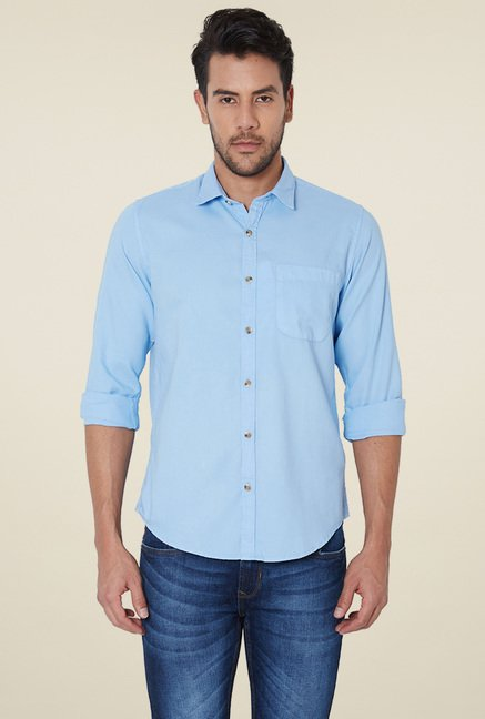 c3f205545a2c Buy Peter England Light Blue Full Sleeves Solid Cotton Shirt for Men Online    Tata CLiQ