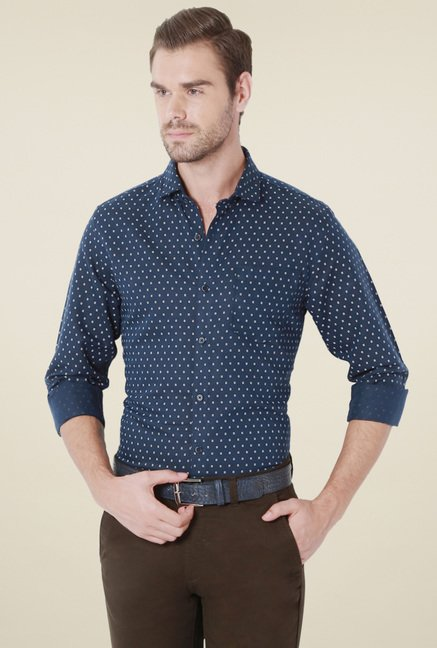 Peter England Navy Printed Slim Fit Full Sleeves Shirt