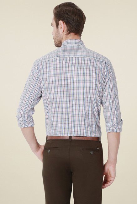 Peter England White Checks Slim Fit Shirt