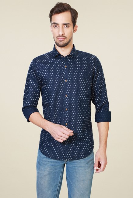 Peter England Navy Full Sleeves Slim Fit Printed Shirt