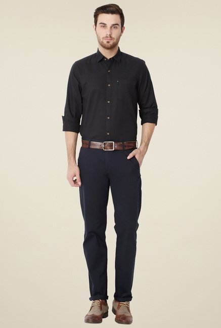 Peter England Black Slim Fit Cotton Shirt