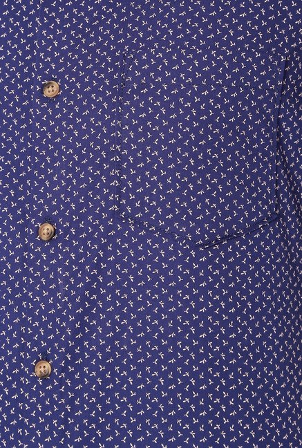 Peter England Navy Printed Cotton Shirt