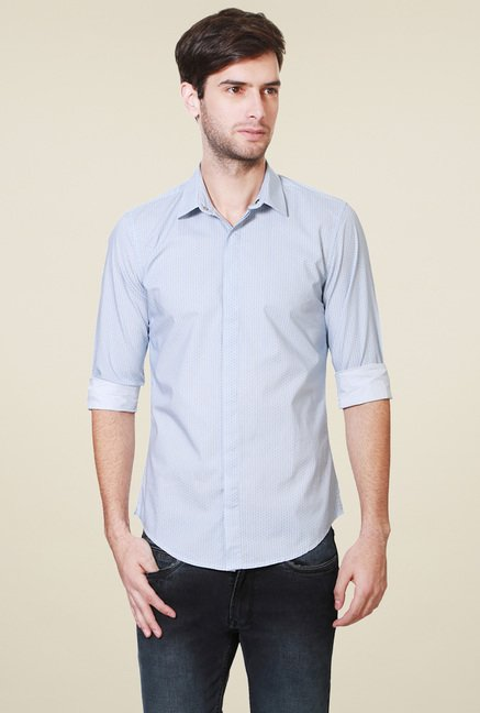 Peter England Light Blue Slim Fit Cotton Shirt