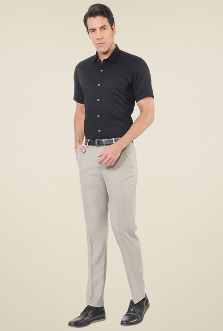 Peter England Black Half Sleeves Slim Fit Shirt