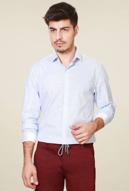 Peter England Light Blue Ultra Slim Fit Shirt