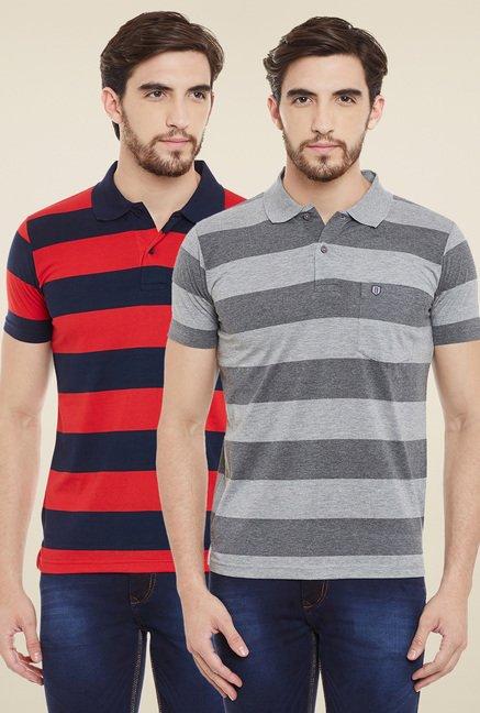 Duke Red & Grey Regular Fit Polo T-Shirt (Pack of 2)