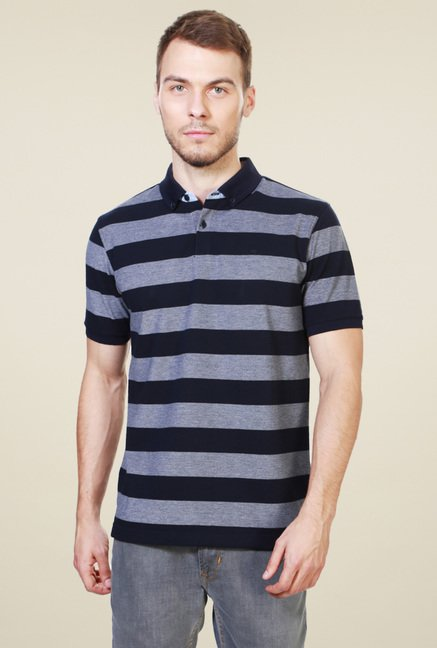 Peter England Navy Half Sleeves Polo T-Shirt