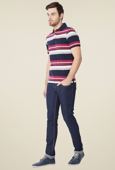 Peter England White & Navy Polo T-Shirt