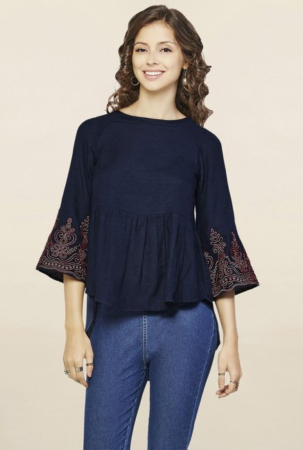e9c1787b67f Buy Global Desi Navy Embroidered Top for Women Online @ Tata CLiQ