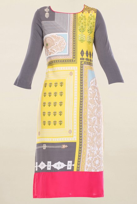 W Yellow & Grey Printed Kurta
