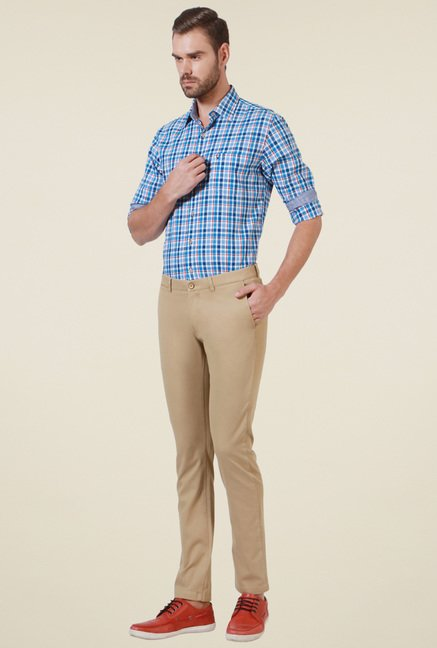 Allen Solly Beige Cotton Slim Fit Mid Rise Trousers