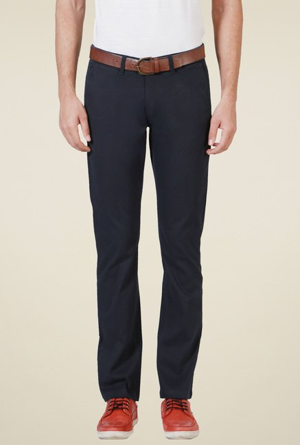 Allen Solly Navy Mid Rise Cotton Trousers