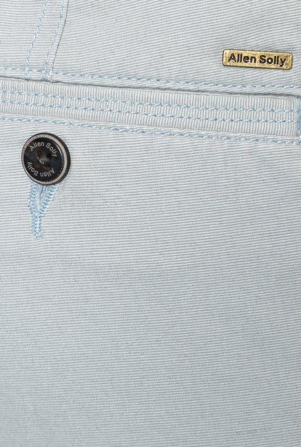 Allen Solly Baby Blue Mid Rise Trousers