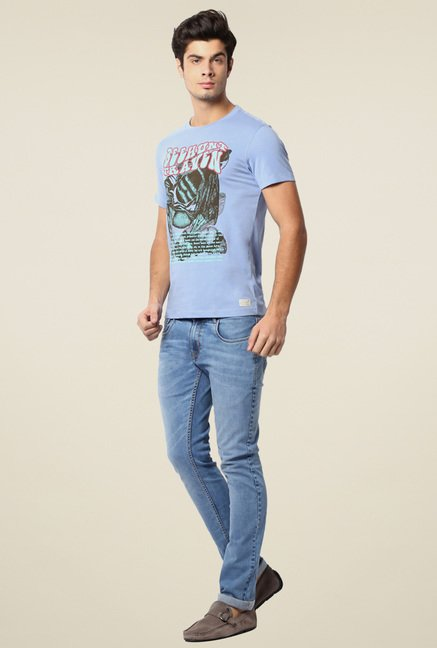 Peter England Stone Blue Slim Fit Printed T-Shirt