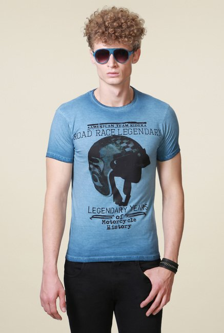 People Blue Regular Fit Printed Cotton T-Shirt