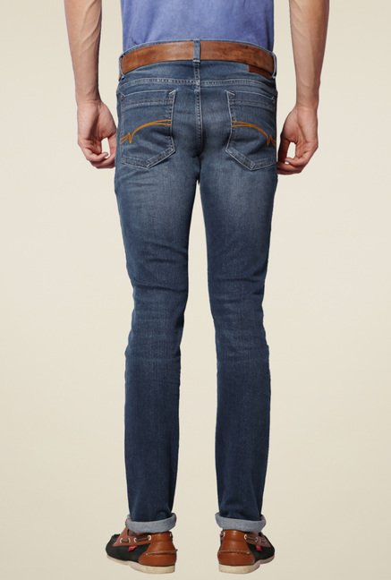 Van Heusen Dark Blue Lightly Washed Cotton Jeans