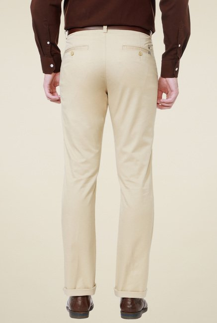 Allen Solly Cream Regular Fit Mid Rise Trousers