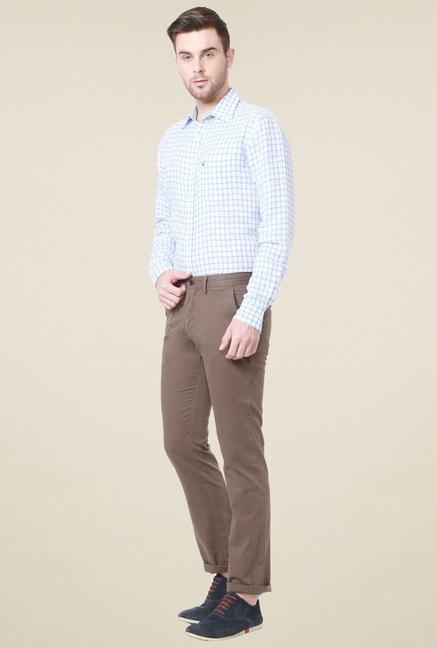 Allen Solly Brown Comfort Fit Mid Rise Trousers