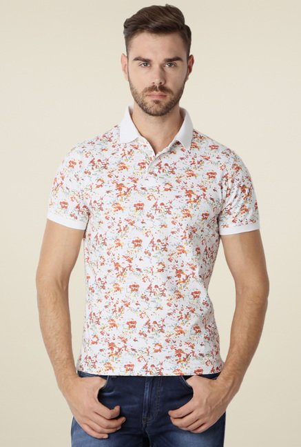 Peter England White & Peach Slim Fit Polo T-Shirt