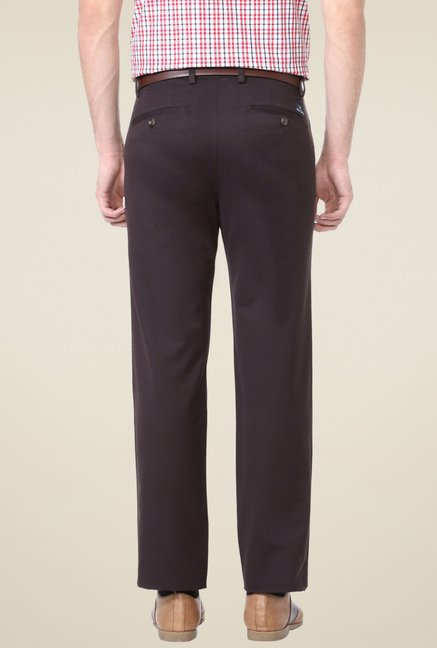 Allen Solly Brown Flat Front Trousers